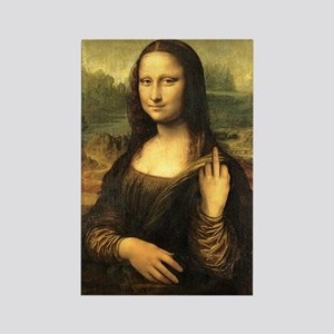 Mona Lisa Flip Off Rectangle Magnet
